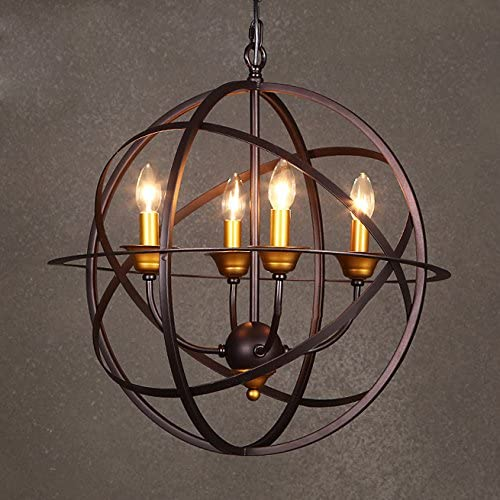 Industrial Splendid Vintage Retro Iron Pendant Light – LITFAD 22 Edison Metal Globe Shade Hanging Ceiling Cage Chandelier Pendant Lamp Fixture Copper Finish with 4 Lights for Living Room Restaurant