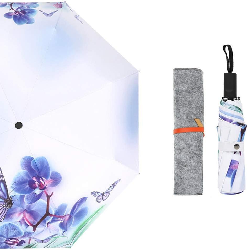 Color : 03Flower C.W.USJ Umbrella Outdoor Sun Umbrella for Women UV Protection Parasol Unbreakable Durable Lightweight Rubber Handle