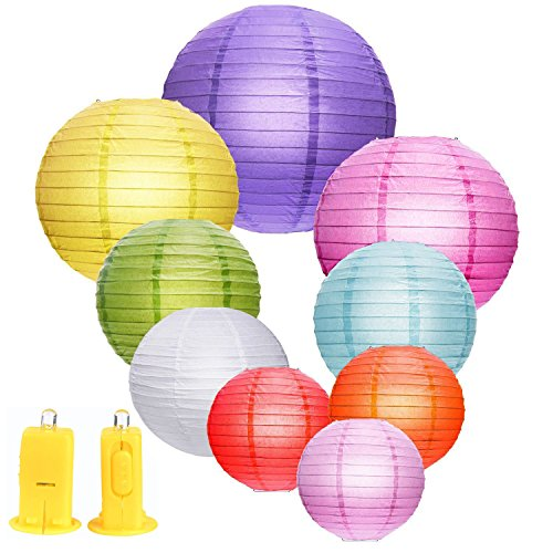eBoot 9 Pieces Paper Lanterns Round Lantern and 9 Pieces LED Lights for Birthday Wedding Party Decorations, Total 18 Pieces