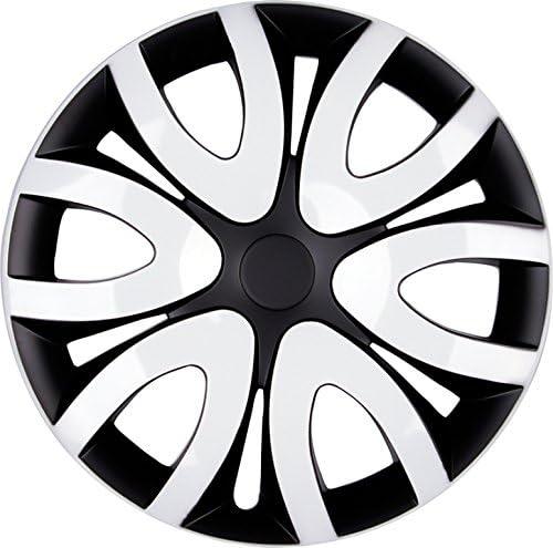 Premium Radkappen Radzierblenden Radblenden Modell Mika 4er Set Farbe Schwarz Weiß Felgendurchmesser 15 Zoll Auto