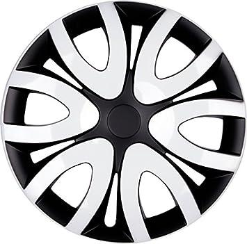 4 x Premium Diseño Tapacubos Tapacubos Tapacubos Mika 14 pulgadas Color Blanco Negro: Amazon.es: Coche y moto