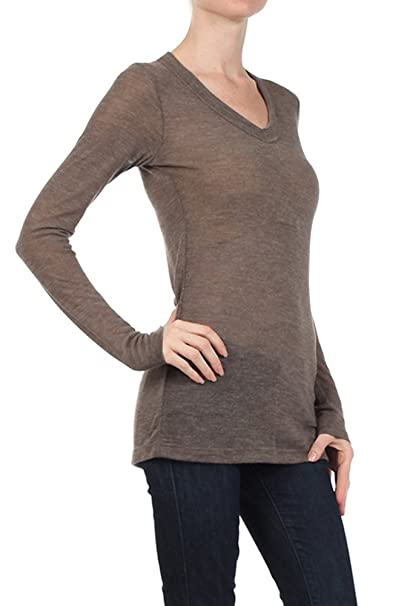 460032000d6 Women s Long Sleeve V-Neck Knit T Shirt Top -Textured Fitted Lightweight -  Mocha Coffee Brown-S at Amazon Women s Clothing store
