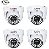 CANAVIS 4Packs HD 1280TVL 3.6mm Lens 36 IR-LEDs CCTV Camera Home Security Day Night Waterproof Dome Camera