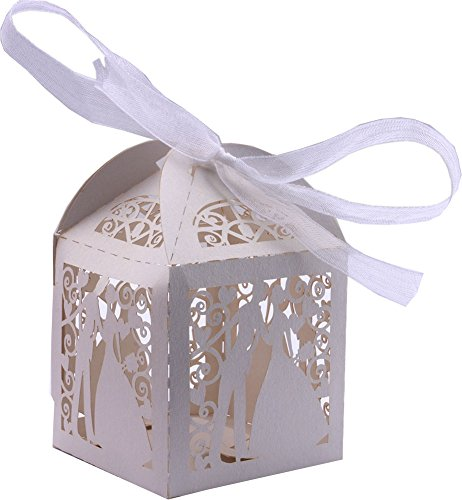 DriewWedding 50PCS Couple Design Wedding Bridal Favor Gift Candy Boxes Case, Hollow Wrap Boxs Bag with Ribbon Party Table Decor Kit Treat Box Chocolate Candy Wrappers Holders (White) (Wedding Gift Chocolate)