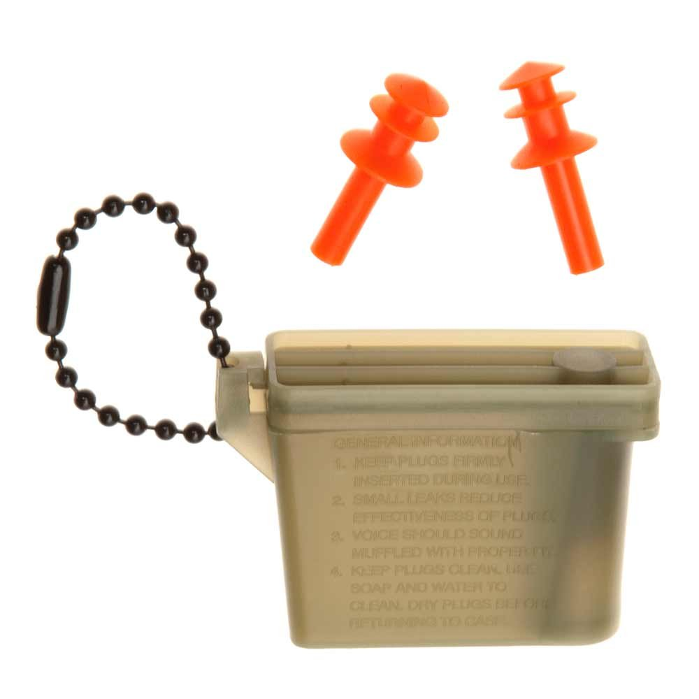 Tac Shield Ear Plugs Hearing Protection with Case, Green/Orange (3926)