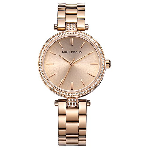 - Charm Womens Watches Rose Gold Tone Small Face Crystal Stainless Steel Bracelet Second Hand for Ladies