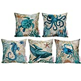 Econie Ocean Part Theme Throw Pillow Case (Octopus/ Sea Turtle/ Dolphin/ Crab/Sea Horse ) Animal Cotton Linen Suare Pillow Cushion Cover Decorative 18 x18 Inch, Set of 5