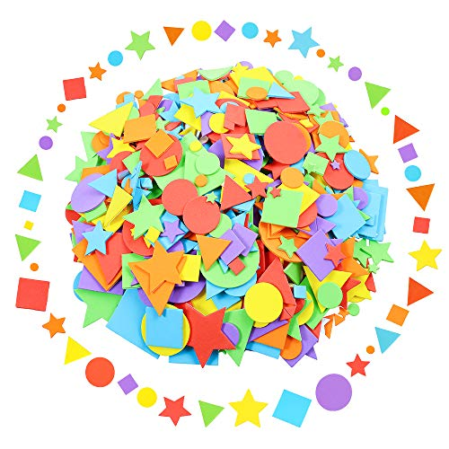 - Sntieecr 1500 Pieces Assorted Colors Foam Geometry Stickers Mini Self Adhesive Geometry Shapes EVA Foam Stickers for DIY Art Craft (Circle, Square, Triangle, Pentagram)