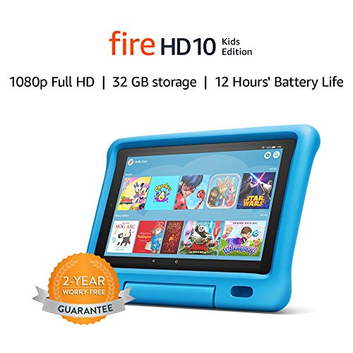 Fire HD 10 Kids tablet   for ages 3-7   10.1″ 1080p Full HD Display, 32 GB, Blue Kid-Proof Case (Previous Generation – 9th)