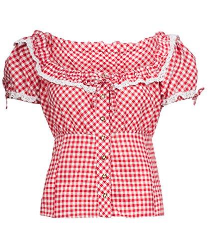 Tracht & Pracht - Damen Baumwolle - Trachtenbluse - Bluse Karo Rot - 48