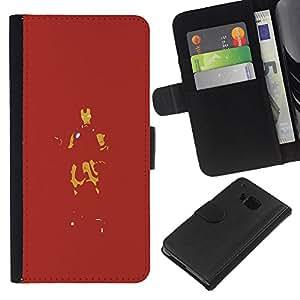 JackGot ( Red Iron Superhero ) HTC One M7 la tarjeta de Crédito Slots PU Funda de cuero Monedero caso cubierta de piel