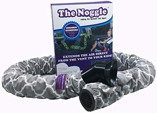 The Noggle - Making The Backseat Cool Again - Vehicle Air Conditioning System to Keep Your Kids Cool and Comfortable When Traveling in The Car - Works with Most Vehicles - 6ft, Grey Quatrefoil