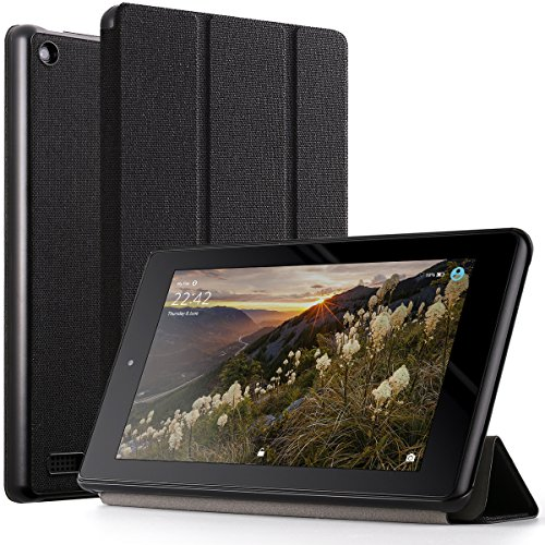 Poetic Slimline All New Amazon Fire 7 2017 Premium Fabric Slim-Fit lightweight Trifold Cover Stand Folio smart cover Case with Auto Sleep/Wake for Amazon Fire 7 (7th Generation, 2017 Release) Black
