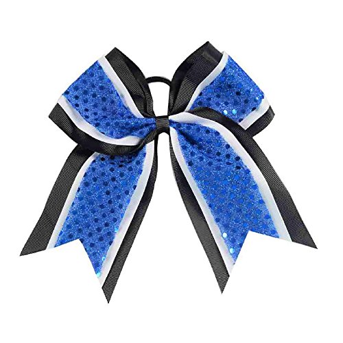 girls-sequin-premium-grosgrain-ribbon-cheer-hair-bow-black-white-royal-blue