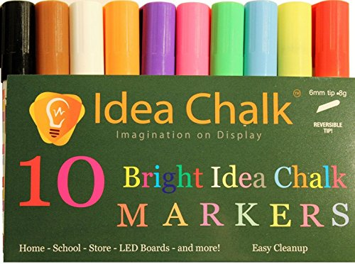 Idea Chalk Easy to Use, Easy Clean Up Bright Vibrant Liquid Chalk Marker Pens For Arts, Crafts, Drawing, Bistro...