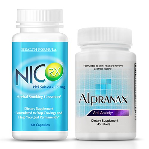 NicRx and Alpranax Bundle - Nicotine Free Quit Smoking Aid + Herbal Stress Relief Supplement - Ease Withdrawal Symptoms - Curb Cravings - Improve Mood - Overcome Nicotine Addiction (2 Items) (Best Way To Quit Smoking Naturally)