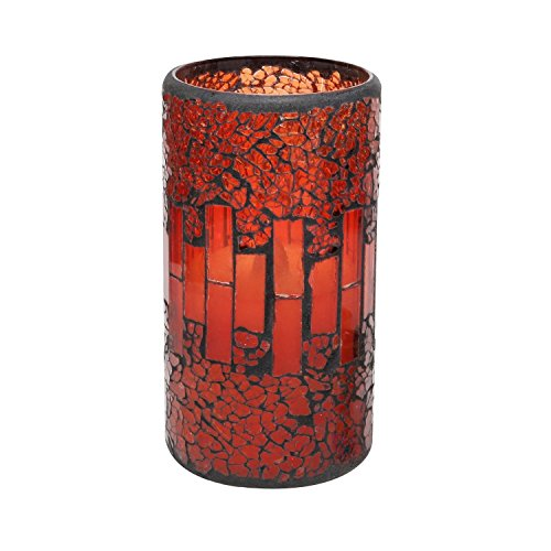 (GiveU Red Mosaic Glass Led Timer Real Wax Pillar Flameless Candle Battery Operated for Home Table Lantern Decoration 3x6 inches)