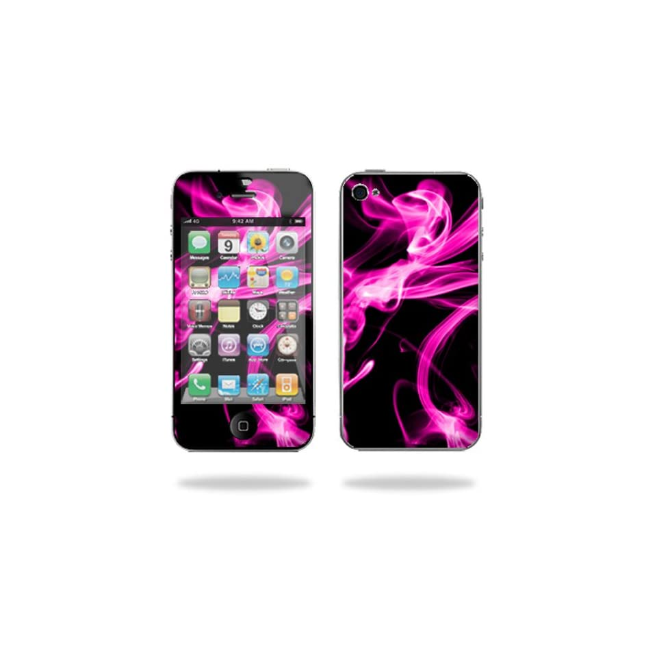 MightySkins Protective Vinyl Skin Decal Cover for Apple iPhone 4 or iPhone 4S AT&T or Verizon 16GB 32GB Cell Phone Sticker Skins Pink Flames Computers & Accessories