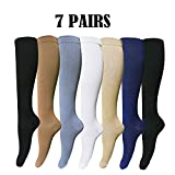 Mens/Womens Knee-High Graduated Compression Socks (7 Pack) - 15-20 mm Hg - Breathable - Prevent Fatigue/Swelling