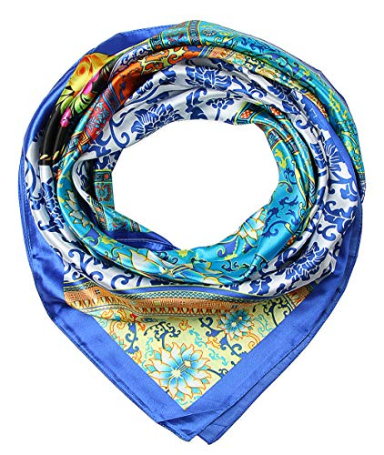"corciova 35"" Large Women's Satin Square Silk Feeling Hair Scarf Wrap Headscarf Cerulean Blue Floral Flowers Pattern"