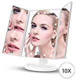 Lighted Vanity Makeup Mirror with Super Bright Dimmable Lights, 1x/2x/3x Magnification, 180° Adjustable Stand for Countertop Cosmetic(Holiday gifts for Girls and Women)