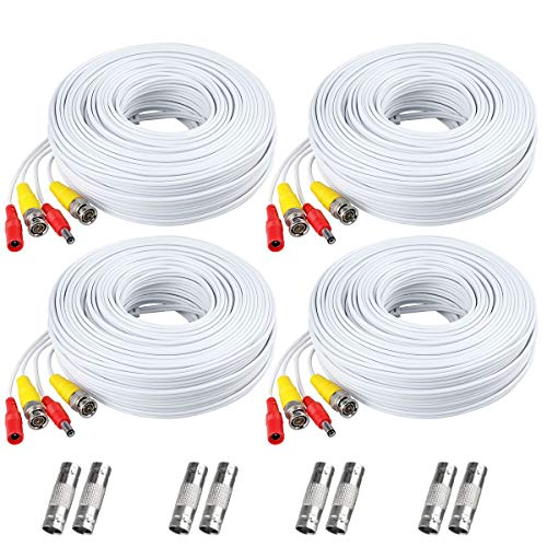 (BNC Cable, 150ft 4Pack All-in-One Siames Video and Power Security Camera Wire Cord with 2 Female Connectors for All HD CCTV DVR Surveillance System (4x150FT BNC Cable White))