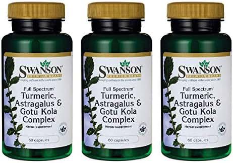 Swanson Full Spectrum Turmeric Astragalus & Gotu Kola Complex 60 Capsules (3 Pack)