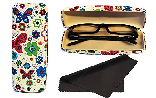Glasses Case, Hard Shell Stylish Protects Sunglasses Storage For Reading Eyeglasses & Eyewear Clamshell Holder With Cleaning Cloth (Cream - - White Small Sunglasses Off