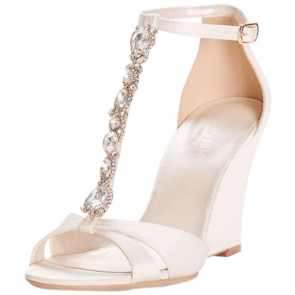 David's Bridal Crystal T-Strap Satin Wedges Style LULU, Ivory, 6.5