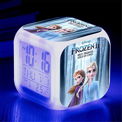 Kids LED Digital Anime Alarm Clock 7 Color Night Light Cartoon Bedroom Cute Music Alarm Clock Mini Travel Wake Up Alarm Clock Movie Fans Alarm Clock Birthday Gift for Children Boys Girls Teens,2