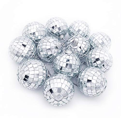 Youdao 12 pcs 1.8 inch Disco Ball Mirror Party Christmas Xmas Tree Ornament Decoration with Cosmos Fastening Strap (12) by Youdao