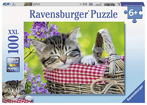 Ravensburger Sleeping Kitten 100 Piece Jigsaw Puzzle for Kids - Every Piece is Unique, Pieces Fit Together Perfectly