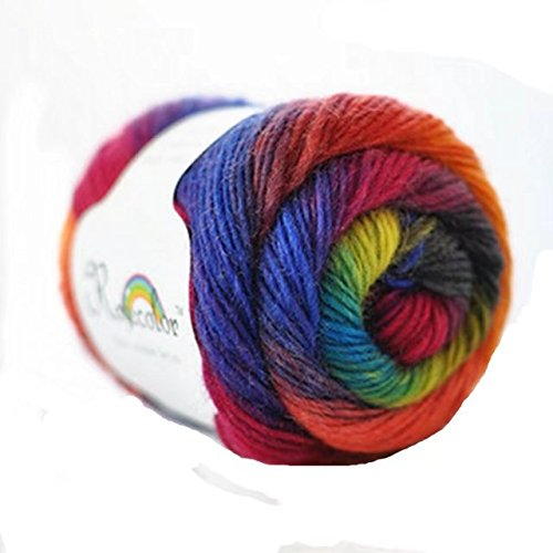 Celine lin One Skein 100% Wool Rainbow Series Hand knitting Yarn 50g,Multi-colored08