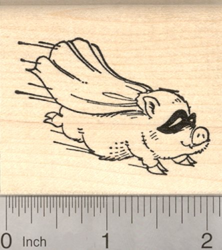 Pig Flying Mount - Flying Pig Rubber Stamp, Super Hero with Cape