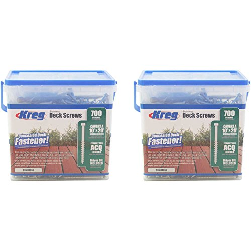 KREG SDK-C2SS-700 2-Inch, #8 Coarse, Stainless Steel Deck Screws, 1400-Pack by Kreg