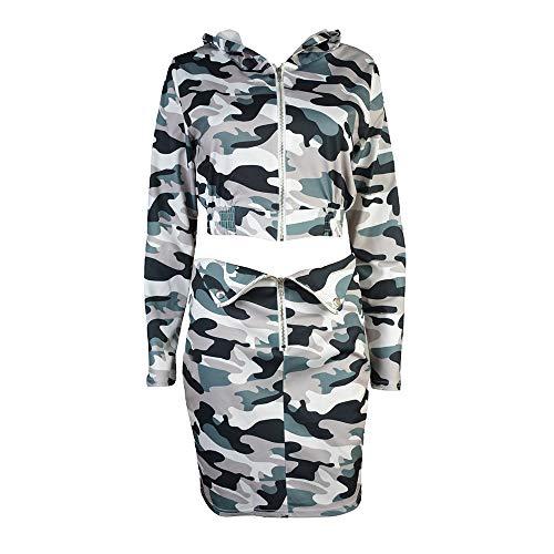 LISTHA Camo Outfits Women Hoodie Skirt Sportswear Blouse Cardigan Crop Coat Set ()