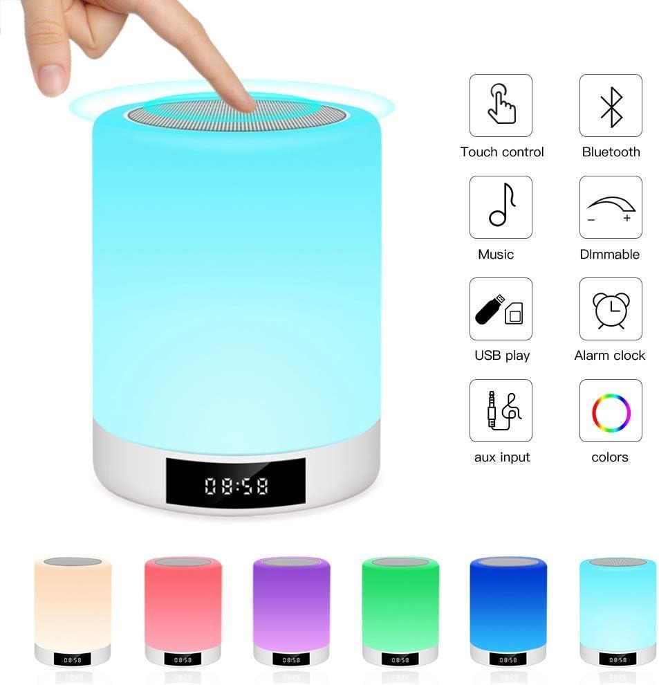 Luces nocturnas Altavoz Bluetooth, Ranipobo Sensor táctil Lámpara de cabecera con reloj despertador, Reproductor de música MP3,Radio FM, Lámpara LED de control táctil Regulable Luces cálidas 7 colores