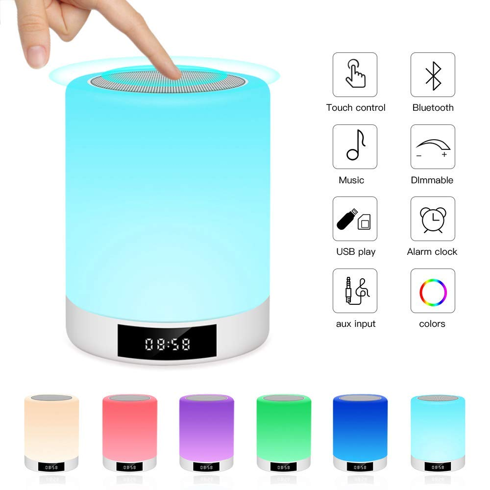 Nachtlichttischlampe Bluetooth-Lautsprecher,Ranipobo-Berührungssensor-Nachttischlampe mit Wecker, MP3-Musik-Player, FM-Radio, LED-Lampe mit dimmbare warme Lichter7 Farben Kinder