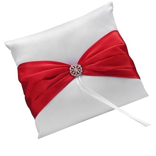 Satén de boda ceremonia anillo portador almohada cojín rojo ...