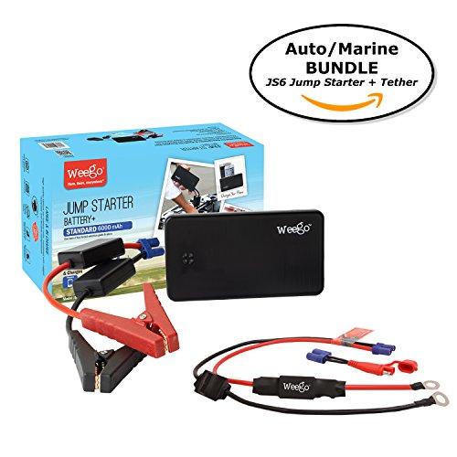 Marine Amps Cranking (Weego JS6 Jump Starter AUTO/MARINE BUNDLE includes Jump Starter JS6 1050 Peak 300 Cranking Amps Plus Weego Jump and Charge 2-in-1 Auto/Marine Tether/Harness)