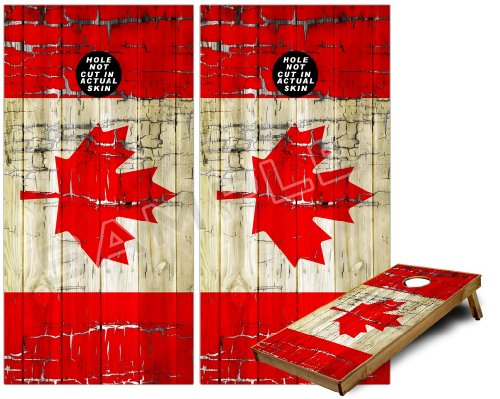 Cornhole Bag Toss Game Board Vinyl Wrap Skin Kit - Painted Faded and Cracked Canadian Canada Flag (fits 24x48 game boards - Gameboards NOT INCLUDED) (Cornhole Bags Canada compare prices)