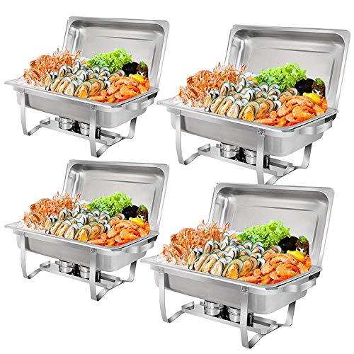8 Quart Rectangular Chafer - 8 Quart Stainless Steel Chafer Full Size Chafer Chafing Dish W/Water Pan, Food Pan, Fuel Holder and Lid For Catering Warmer Set (Rectangular)