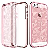 iPhone SE Case, iPhone 5S Case, iPhone 5 Case, BENTOBEN Apple iPhone 5S SE 5 Clear Slim Hybrid 3D Prism Diamond Pattern Design Soft TPU Back Cover with Chrome PC Frame Shockproof Protective Girly Phone Cases for iPhone SE/ 5S/ 5, Rose Gold