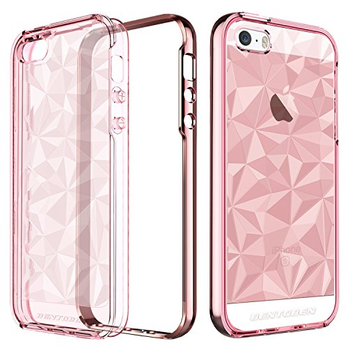 iPhone SE Case, iPhone 5 5S Case, BENTOBEN Crystal Clear Scratch Resistance Shockproof Slim 2 in 1 Hybrid TPU PC Bumper 3D Diamond Visual Protective Phone Case for iPhone SE 5S 5, Rose Gold