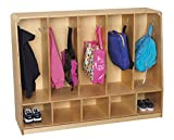 Korners for Kids 1464161 Toddler Bench Coat Locker, 5-Unit, Wood/Aluminum, 53-3/4'' x 13-3/4'' x 36'', Natural Wood Tone