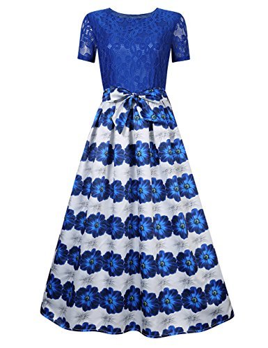 GlorySunshine Women Modest Floral Print Lace Bowknot A-Line Pleated Maxi Cocktail Evening Dress Royal Blue M Modest Lace