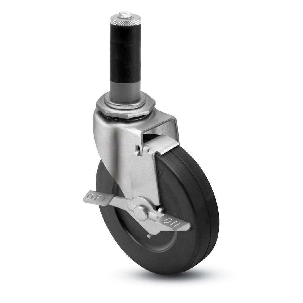 Shepherd Regent Series 4'' Diameter Hard Rubber Wheel Swivel Caster with Tread Brake, Expanding Adapter Stem, 150 lbs Capacity, Zinc Finish, Fits 1-1/8'' - 1-3/16'' Square Tube Diameter by Shepherd