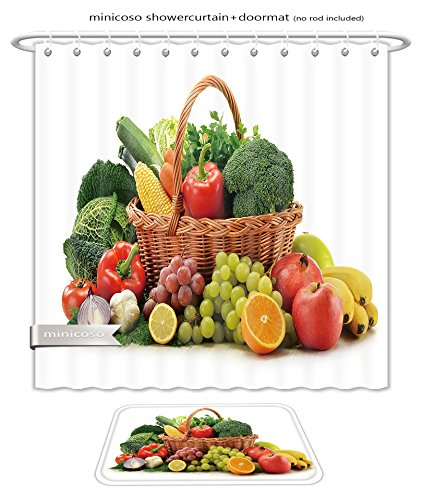 Minicoso Bath Two Piece Suit: Shower Curtains and Bath Rugs Composition With Vegetables And Fruits In Wicker Basket Isolated On Whit Shower Curtain and Doormat Set