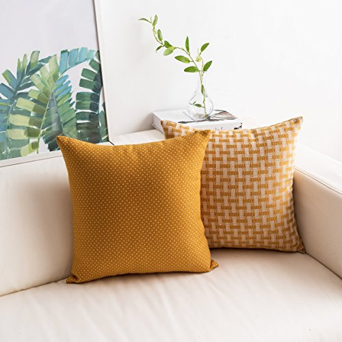 2 Pack Faux Linen Pillow Covers Cases Dots and Checkers Plaids Textured Spring Home Decor Square Yellow Throw Pillow Covers Cushion Cover for Couch, 18 x 18in(45x45), White/Mustard (Mustard Yellow Pillow)