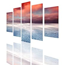 """Alonline Art - Hudson Bay Canada Split 5 Panels PRINT On CANVAS (Synthetic, UNFRAMED Unmounted) 47""""x31"""" - 118x79cm 5 Panels multi Canvas For Bedroom Canvas For Living Room Paintings Wall Decor"""